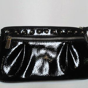 CANDIE'S BLACK STUDDED FAUX PATENT WRISTLET